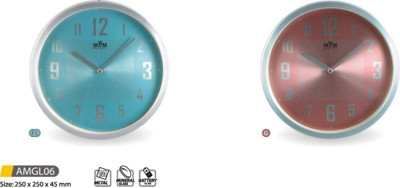 Designové nástěnné hodiny kovové AMGL06 - FL, G 145611 MPM Quality Hodinářství