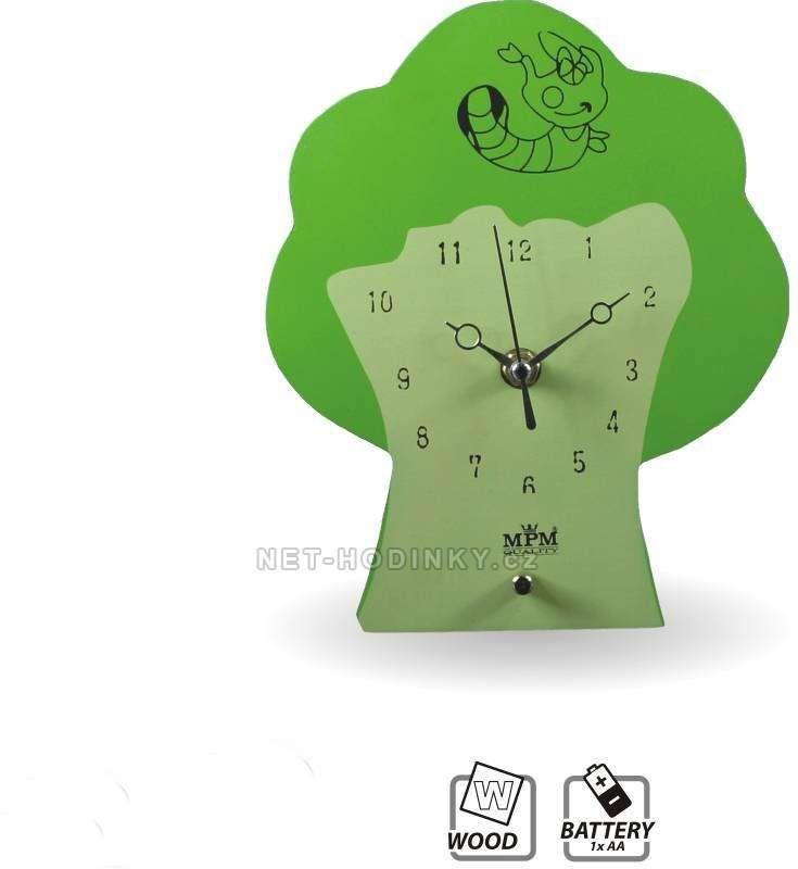 Hodiny na zeď Dětské nástěnné hodiny dřevěné Strom QHA072.2 146030 MPM Quality Designové hodiny