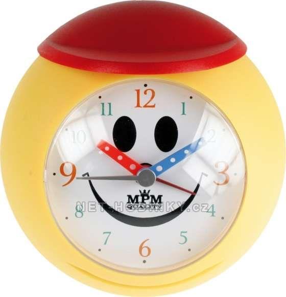 Dětský budík ručkový basketbalový míč žlutá/červená 146055 Hodiny