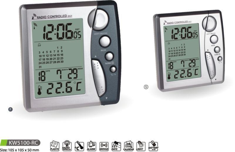 Hodiny na zeď Digitální budík s teploměrem KW5100-RC - F, S 145619 MPM Quality Designové hodiny
