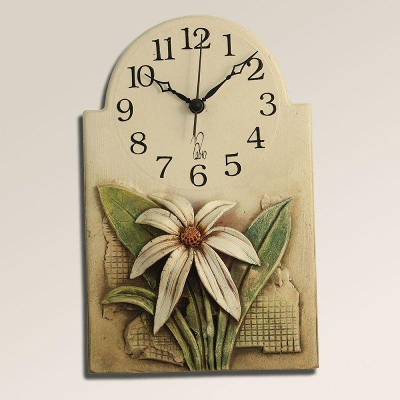 Keramické nástěnné hodiny s květinou 145484 autorské hodiny Hodinářství
