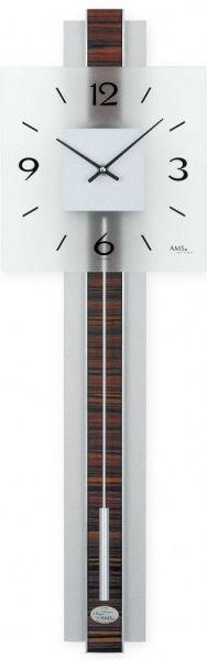 Hodiny na zeď Kyvadlové hodiny AMS 7326 146155 barva ořech Designové hodiny