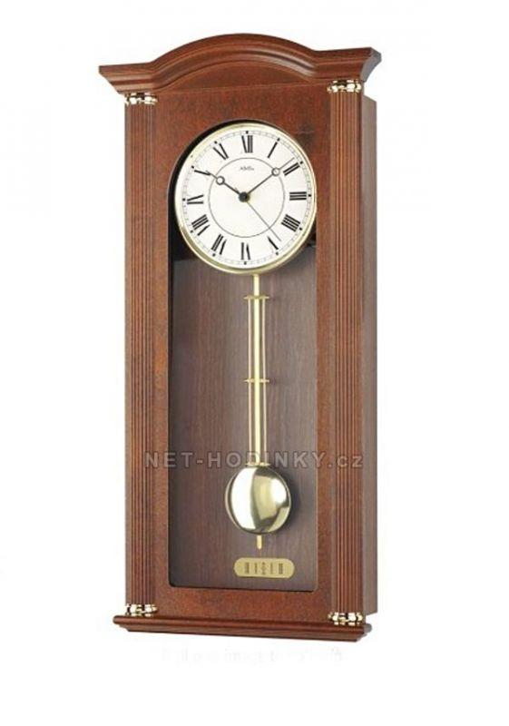 Hodiny na zeď Kyvadlové hodiny řízené rádiovým signálem AMS 5014/1 ořech, 5014/9 třešeň 146137 Designové hodiny