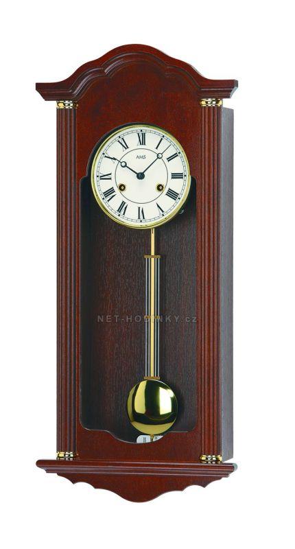 Hodiny na zeď Mechanické kyvadlové hodiny AMS 619/1 ořech, AMS 619/4 dub 146130 Designové hodiny