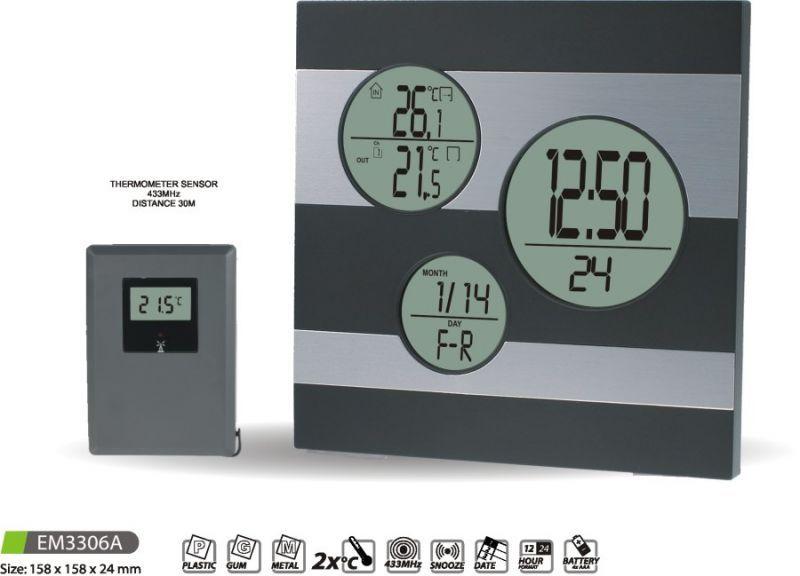 Hodiny na zeď Meteostanice EM3306A 145630 MPM Quality Designové hodiny