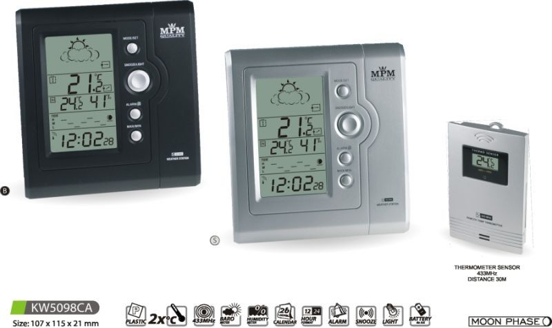 Hodiny na zeď Meteostanice KW5098CA - black, silver 145616 MPM Quality Designové hodiny