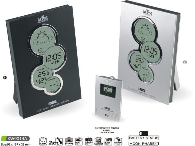Hodiny na zeď Meteostanice KW9014A černá, stříbrná 145631 MPM Quality Designové hodiny