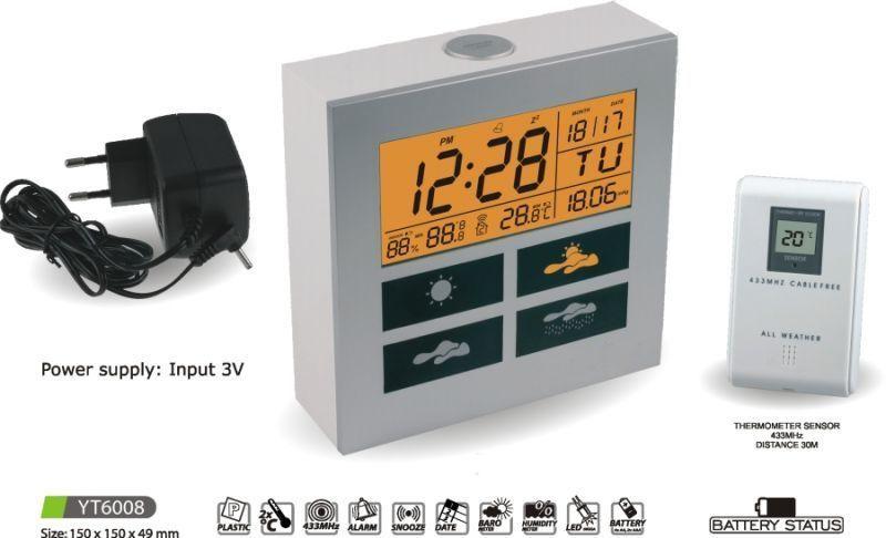 Hodiny na zeď Meteostanice YT6008 145621 MPM Quality Designové hodiny