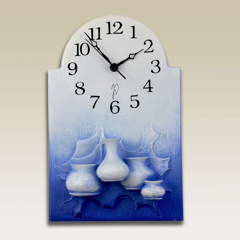 autorské hodiny Modré nástěnné hodiny z keramiky - vázičky 146734