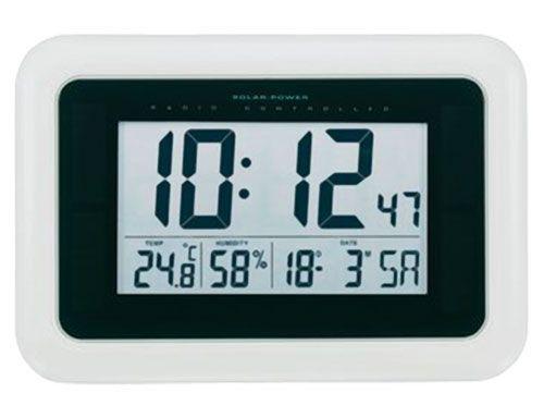 Hodiny na zeď Nástěnné digitální LCD hodiny Solar v bílé barvě 145596 Designové hodiny