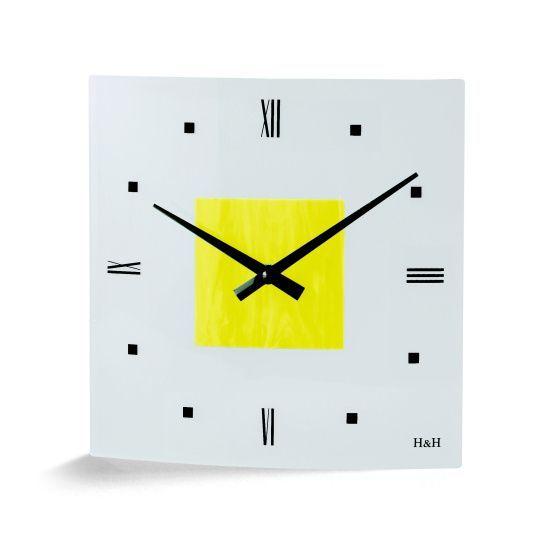 hodiny čtverec žlutá