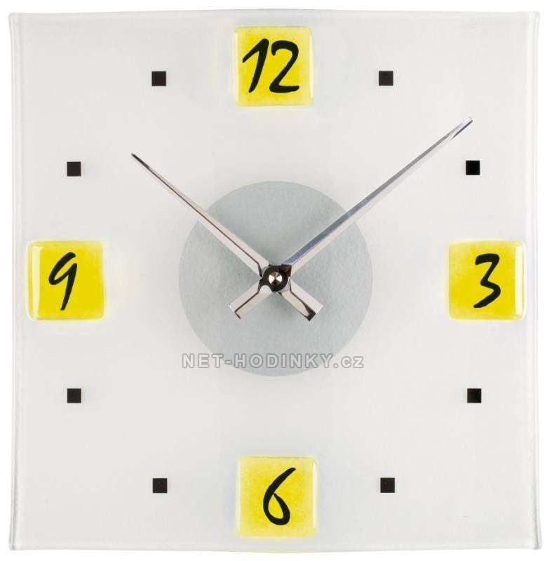 Nástěnné hodiny 1130.3 žluté, 1129.7 zelené, 1133.5 oranžové skleněné hodiny 145994 H&H Hodinářství
