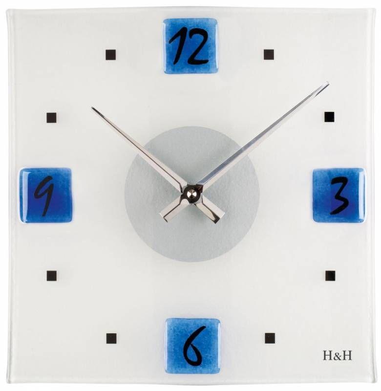 Nástěnné hodiny čtvercové 1132.6 modré 145993 H&H Hodiny