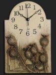Nástěnné hodiny keramické - hnědé makovice 146735
