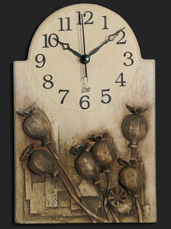 Hodiny na zeď Nástěnné hodiny keramické - hnědé makovice 146735 autorské hodiny Designové hodiny