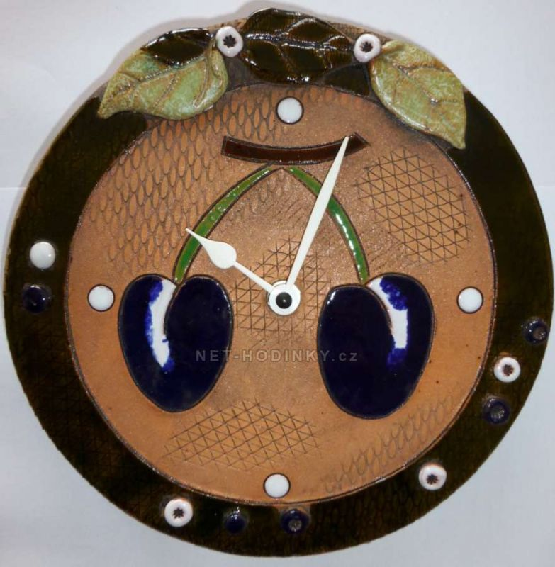 Nástěnné hodiny keramické - motiv švestky 145070 autorské hodiny Hodinářství