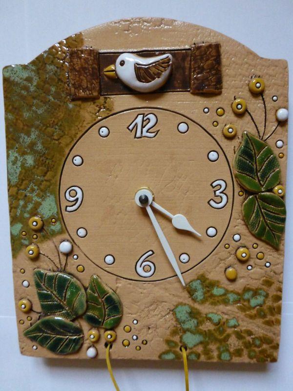 autorské hodiny Nástěnné hodiny keramické s kukačkou 145068 keramické hodiny kukačky 1