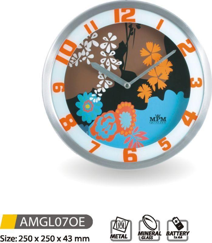 Hodiny na zeď Nástěnné hodiny kovové AMGL07OE 145612 MPM Quality Designové hodiny