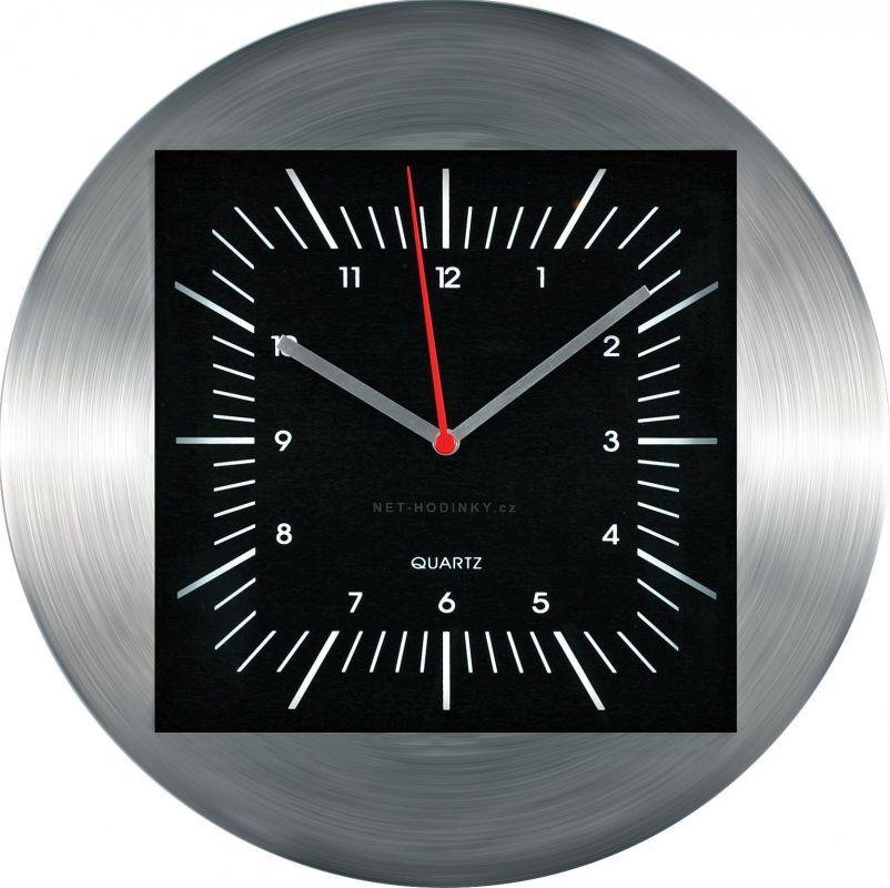 Hodiny na zeď Nástěnné hodiny kovové M2712B černá - stříbrná 145610 Designové hodiny