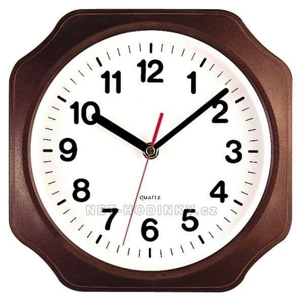 Hodiny na zeď Nástěnné hodiny plastové 3024.9 hnědá 141309 H&H Designové hodiny