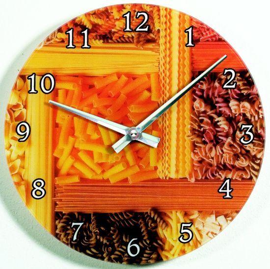 Nástěnné hodiny skleněné 1096.1 těstoviny 139021 H&H Hodiny
