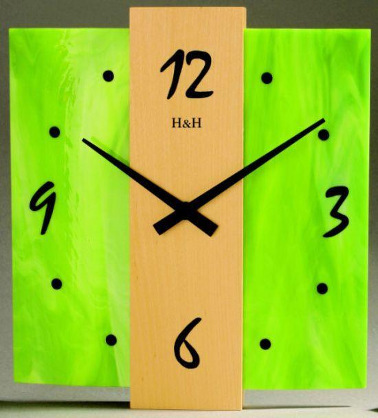 Nástěnné hodiny skleněné čtvercové zelená 1040.1 skladem 138503 Hodinářství
