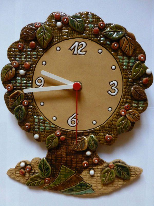 Hodiny na zeď Nástěnné keramické hodiny - motiv strom 145073 autorské hodiny Designové hodiny