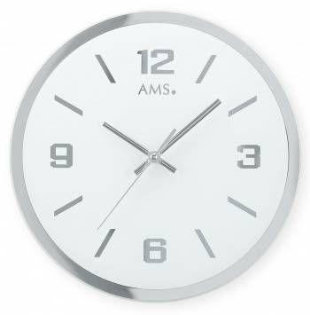 Hodiny na zeď Kulaté skleněné zrcadlové hodiny na zeď ams 9322 Designové hodiny