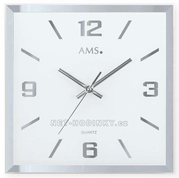 Hodiny na zeď Čtvercové nástěnné hodiny ams 9324 Designové hodiny