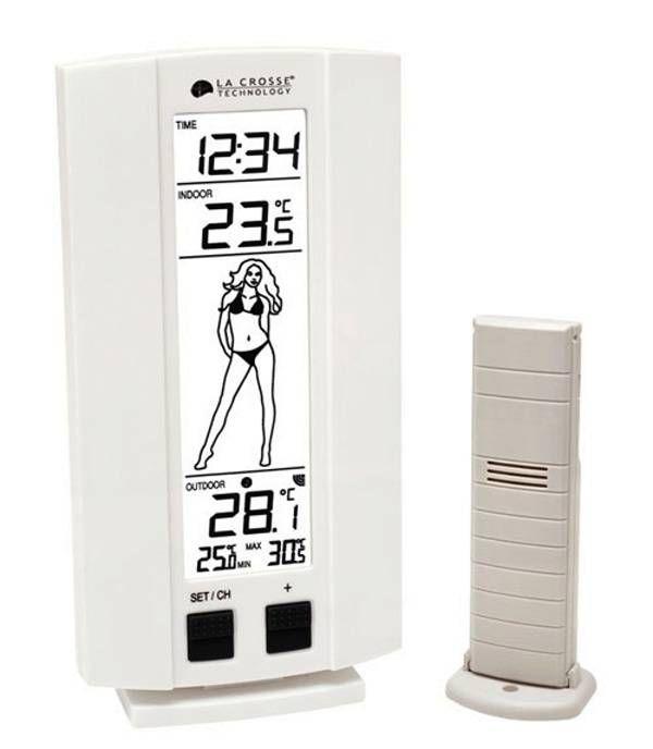 Hodiny na zeď Teploměr bezdrátový WS9750.02 bílá barva 147328 La Crosse Technology Designové hodiny