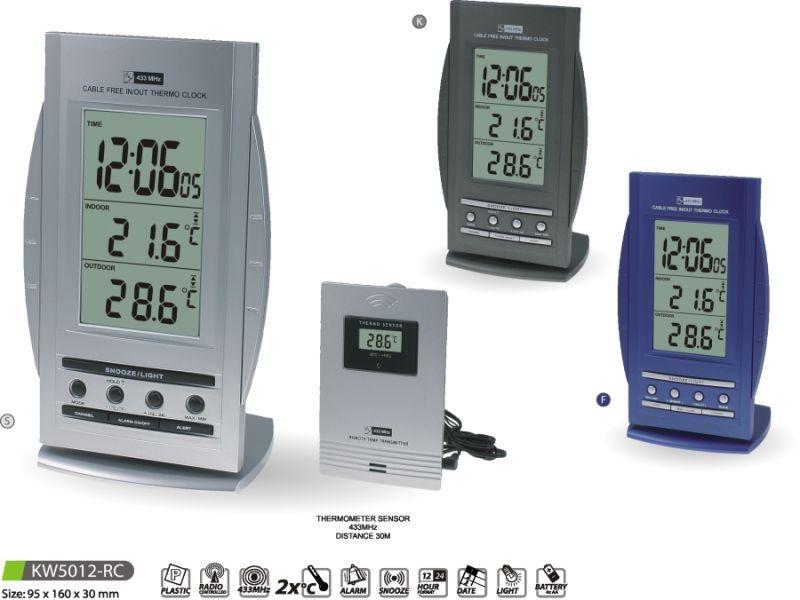 Hodiny na zeď Teploměr digitální s budíkem KW5012-RC 145632 MPM Quality Designové hodiny