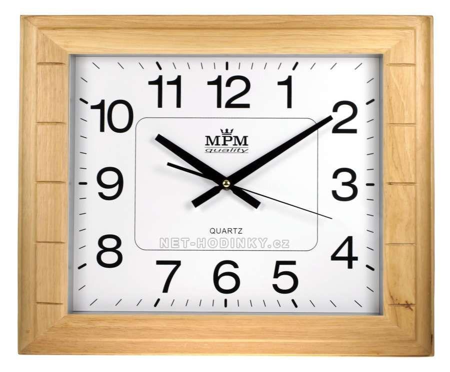 Hodiny na zeď Velké dřevěné nástěnné hodiny PW999.01F přírodní barva 145546 Designové hodiny