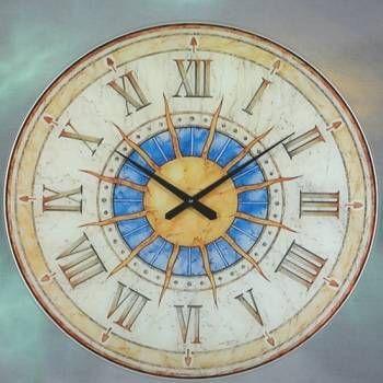 Hodiny na zeď Velké skleněné hodiny AMS 9230 Slunce 147442 Designové hodiny