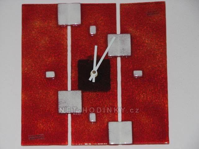 autorské hodiny Čtvercové fusingové skleněné nástěnné hodiny 150846