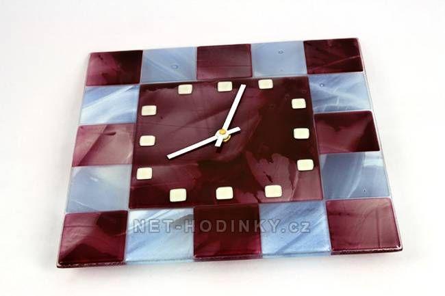 autorské hodiny Čtvercové fusingové skleněné nástěnné hodiny ruční výroby 150512