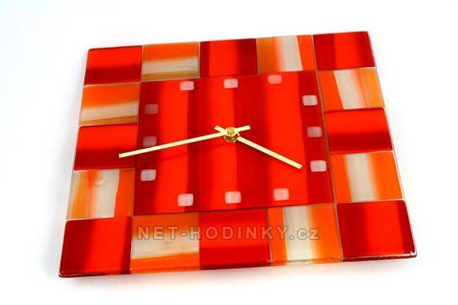 autorské hodiny Čtvercové fusingové skleněné nástěnné hodiny ruční výroby 150514