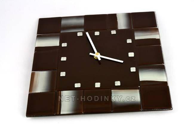 autorské hodiny Čtvercové fusingové skleněné nástěnné hodiny ruční výroby 150516