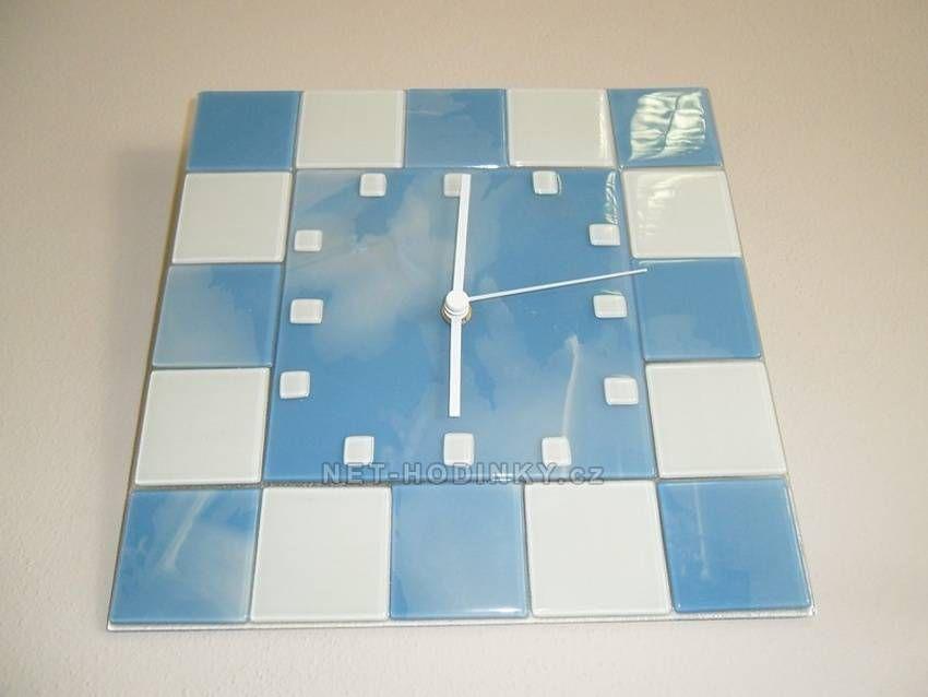 autorské hodiny Čtvercové fusingové skleněné nástěnné hodiny ruční výroby 150656