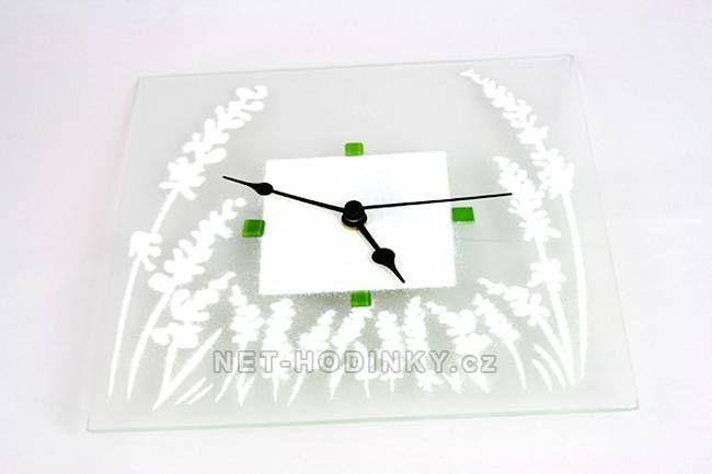 autorské hodiny Čtvercové fusingové skleněné nástěnné hodiny se sypaným vzorem ruční výroby 150524