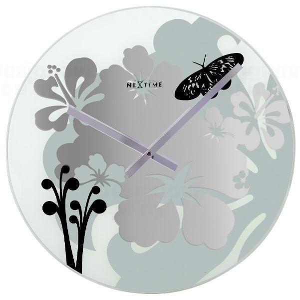 NeXtime Designové nástěnné hodiny 8087 Nextime Hibiscus black 43cm 150158
