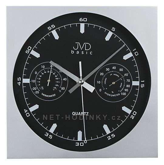 H 10 - Analogové bateriové nástěnné hodiny JVD basic s teploměrem a vlhkoměrem 151651