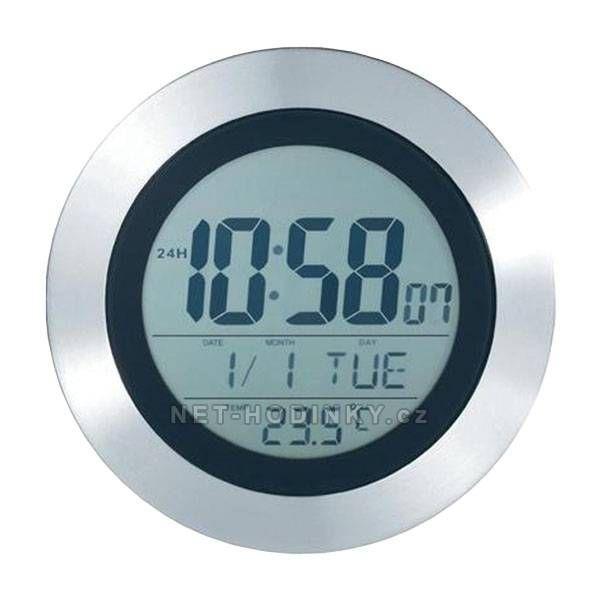 Hodiny DCF nástěnné s teploměrem, LCD a alarm 151171