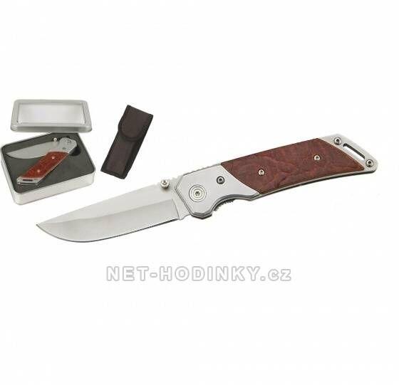 Lovecký nůž s pojistkou v kovovém boxu. 150279 Hodinářství