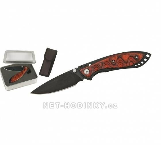 Hodiny na zeď Lovecký nůž s pojistkou v kovovém boxu 150285 Designové hodiny