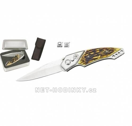 Lovecký vystřelovací nůž s pojistkou v kovovém boxu 150283