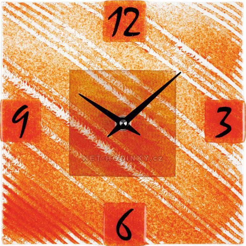 Nástěnné hodiny čtvercové 1170.8 oranžová barva 150163 Hodinářství