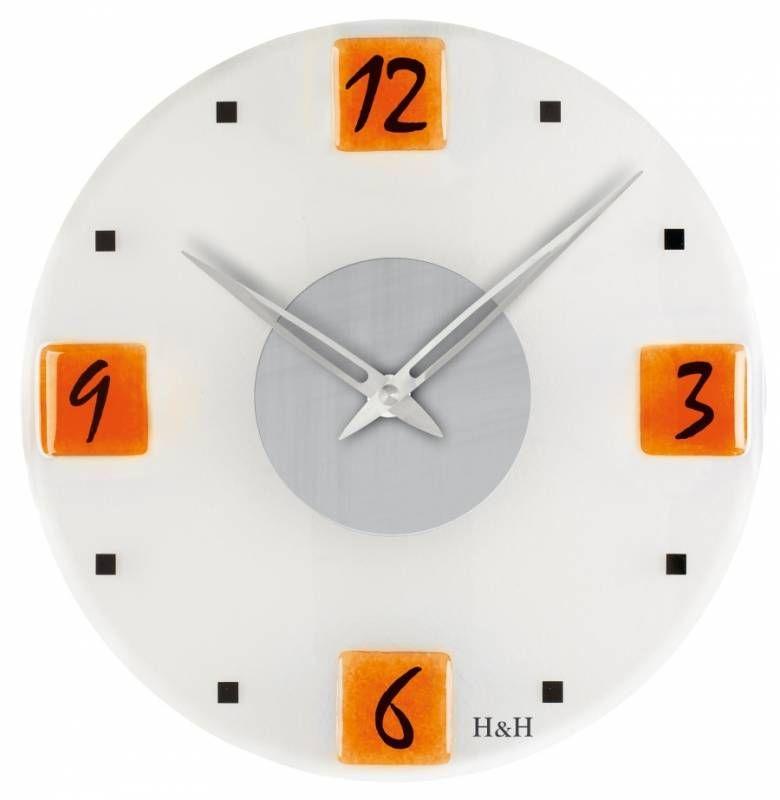 Hodiny na zeď Nástěnné hodiny skleněné 1167.3 oranžové 147462 H&H Designové hodiny