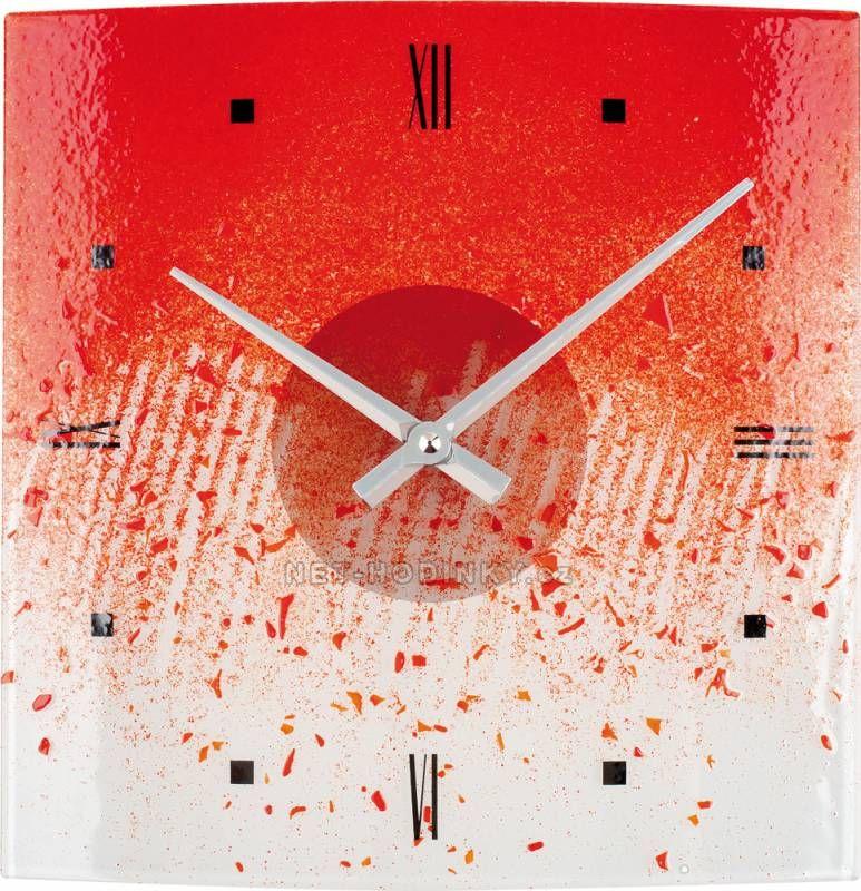 Hodiny na zeď Nástěnné hodiny skleněné 1178.6 červená čtvercové 150154 Designové hodiny