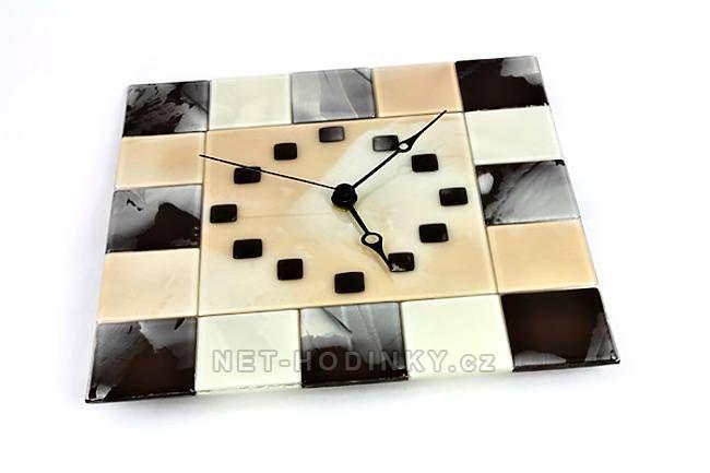 autorské hodiny Nástěnné hodiny ze skla - ruční výroba 150509