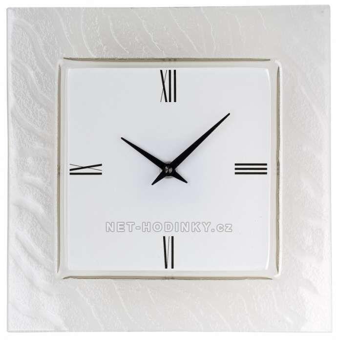 H&H Skleněné nástěnné hodiny 1186.5 bílé 151905
